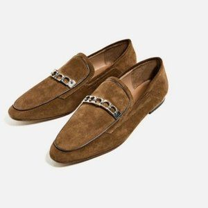 Zara Leather Loafers Flats Shoes